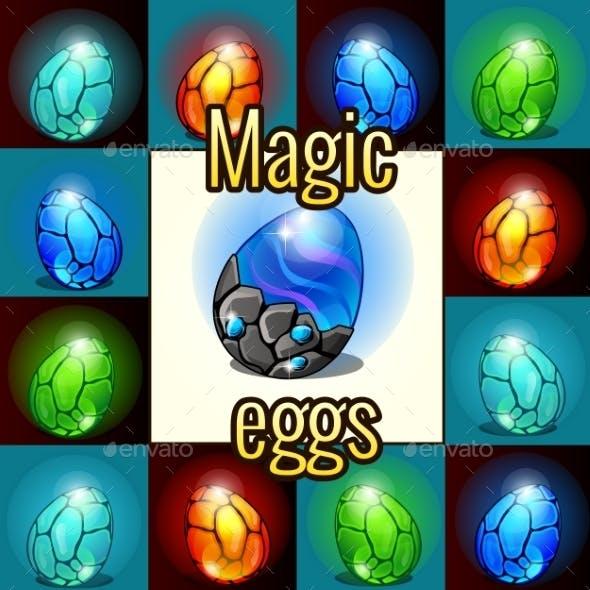 Set of Magic Set Dragon Eggs with Backlight