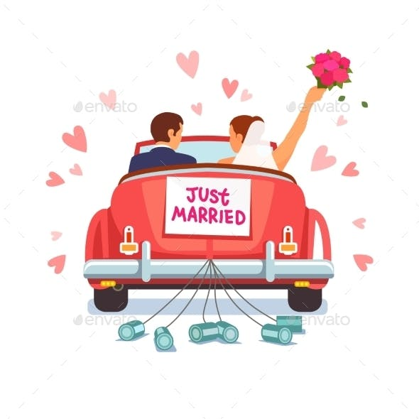 Newlywed Couple Driving Car for Honeymoon