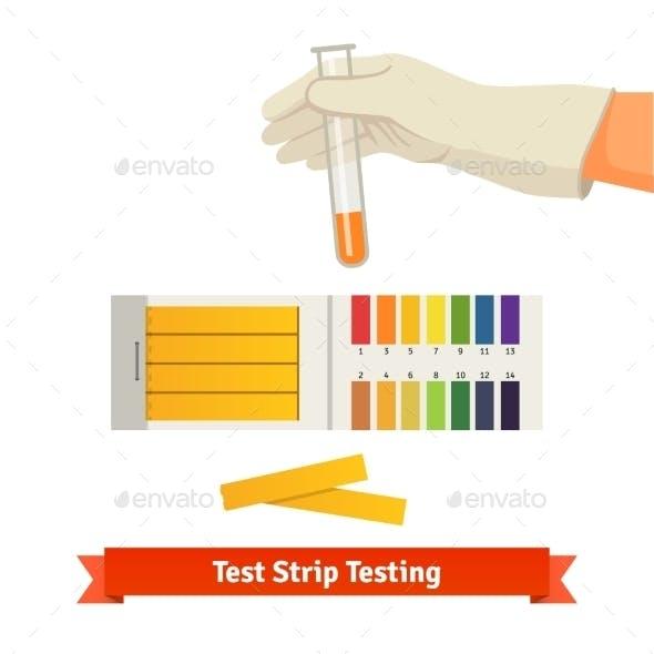 Hand Holding Test Tube with pH Indicator