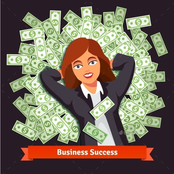 Business Woman on Pile of Dollars