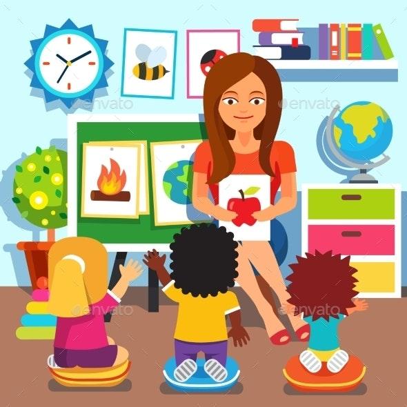 Kindergarten Children Studying in Classroom - People Characters