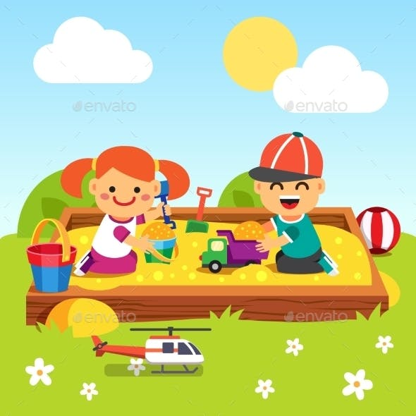 Kids Playing in Kindergarten Sand Pit