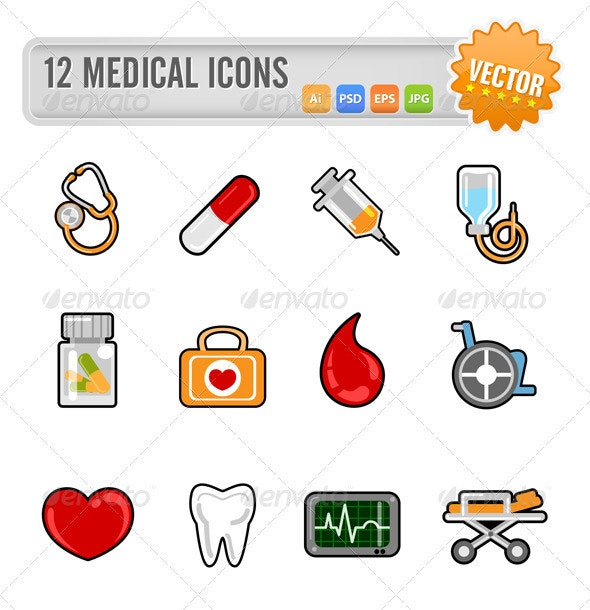 12 Medical Icons - Health/Medicine Conceptual