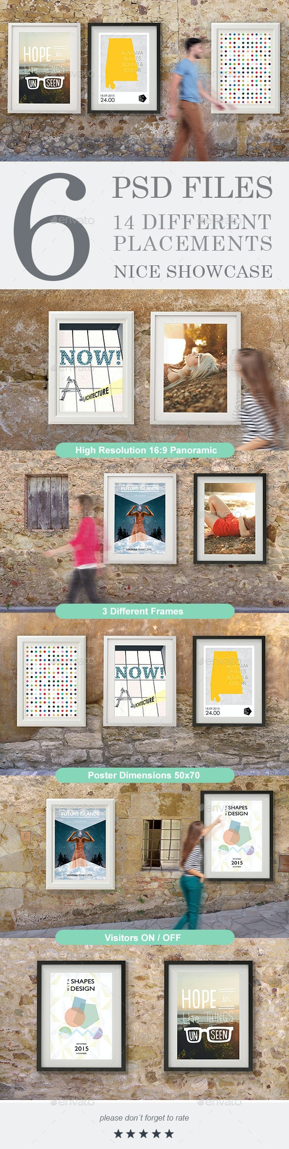 Rustic Wall Gallery Poster Mock-Up - Posters Print