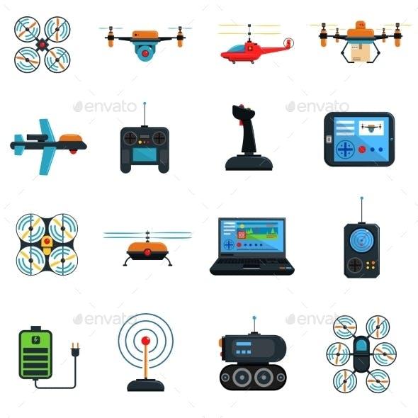 Drones Icons Set