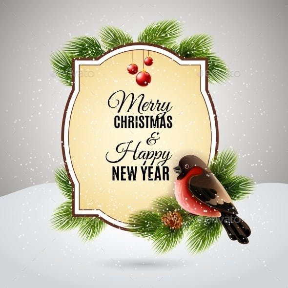 Christmas Greetings Card with Robin Bullfinch
