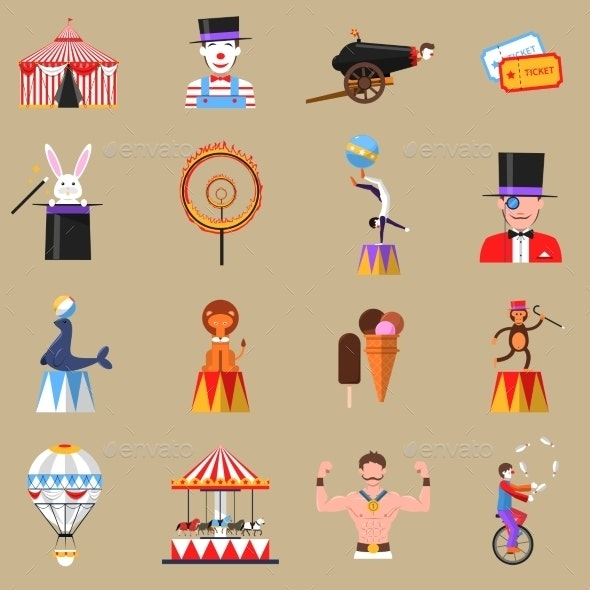 Circus Retro Flat Icons Set Print - Miscellaneous Characters