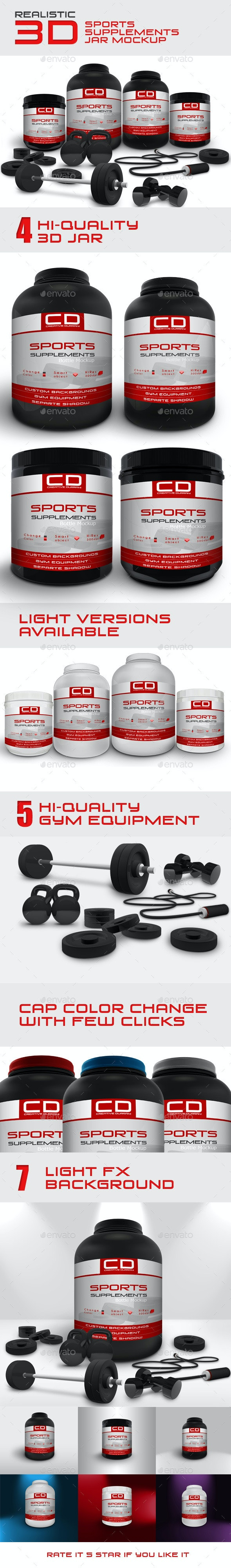 Sports Supplements Jar Mockup - Miscellaneous Packaging