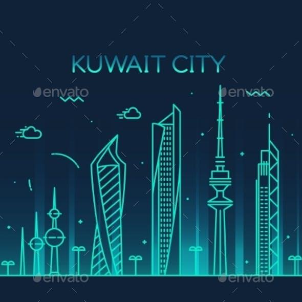 Kuwait City Skyline Silhouette Vector Linear Style