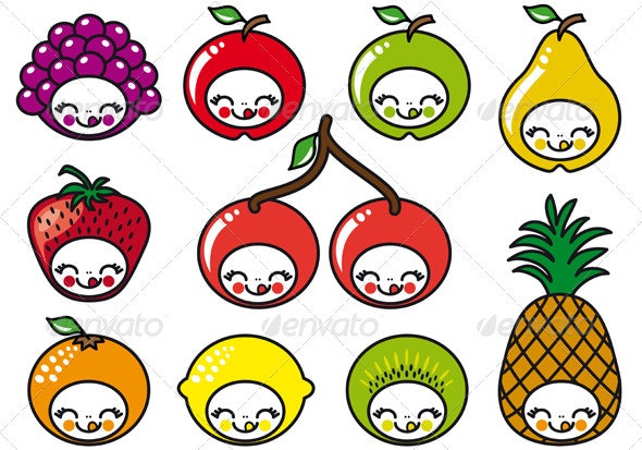 Happy Fruit Faces - Food Objects