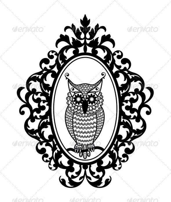 Owl In Picture Frame - Animals Characters