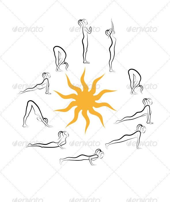 Yoga Sun Salutation Exercises - Sports/Activity Conceptual