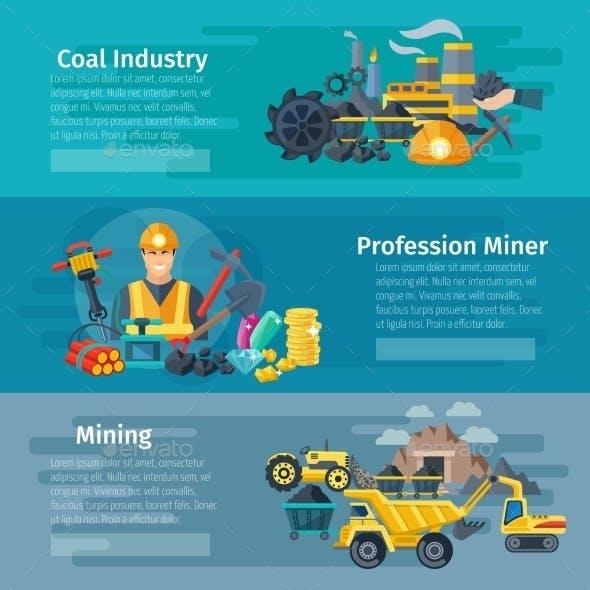 Mining Horizontal Banner Set