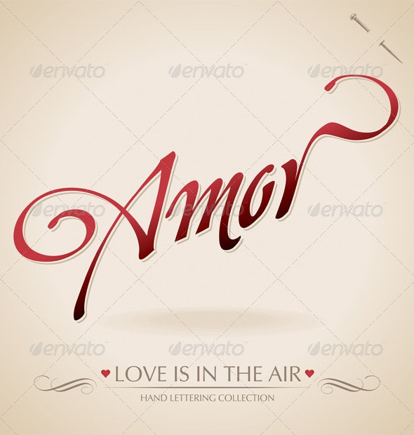 'Amor' Hand Lettering (vector) - Valentines Seasons/Holidays