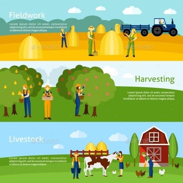 Farming 3 Flat Horizontal Banners Set