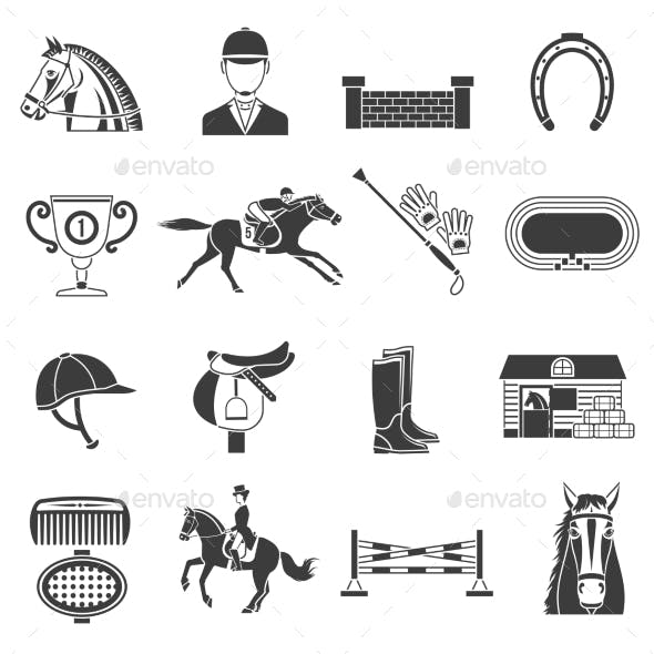 Black Icons Set With Horse Equipment