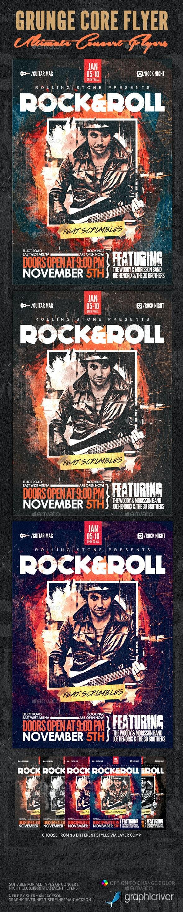 Grunge Core Rock Concert Flyer - Concerts Events