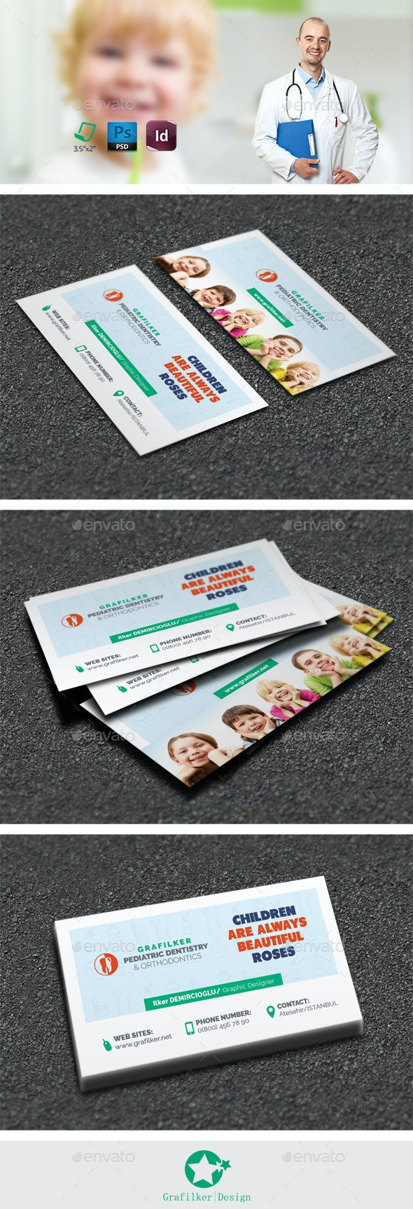 Kids Dental Business Card Templates - Corporate Business Cards