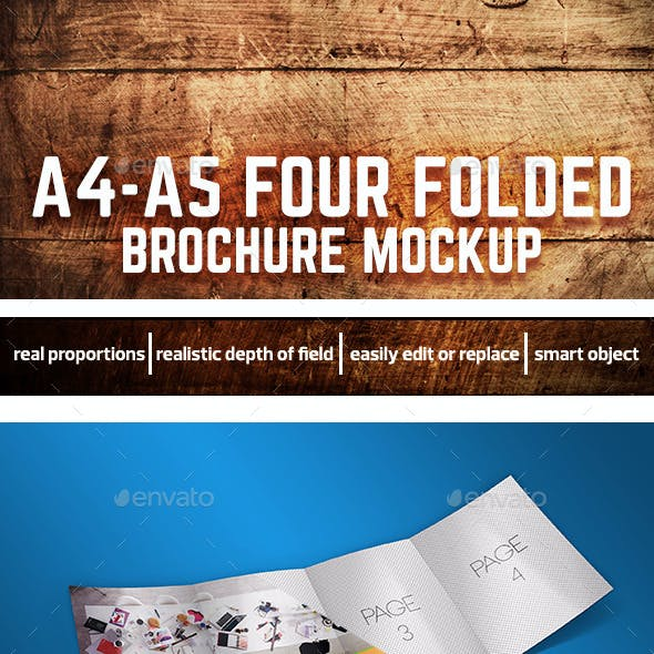 A4-A5 Four Folded Brochure Mockup