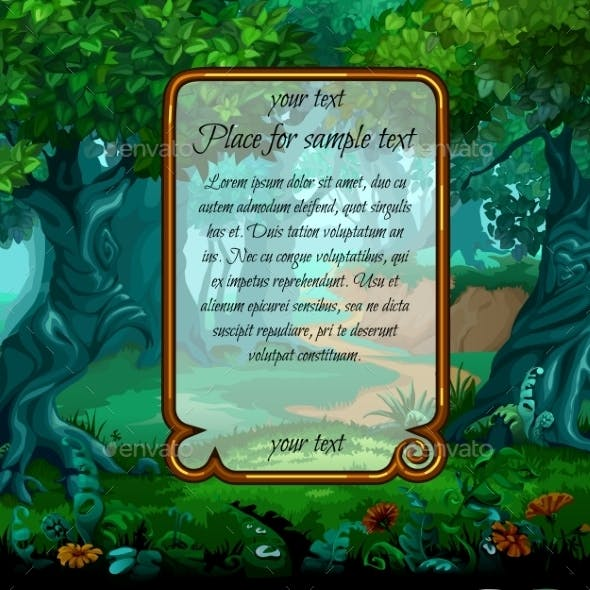 Landscape With Magic Tree And Sample Text