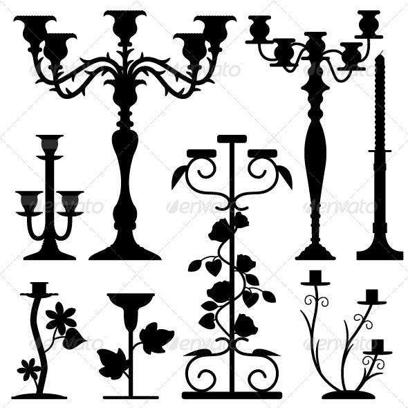 Candlestick Holder in Silhouette Black