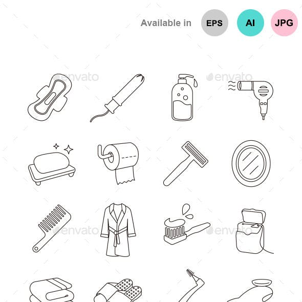 Toiletries Outlines Vector Icons