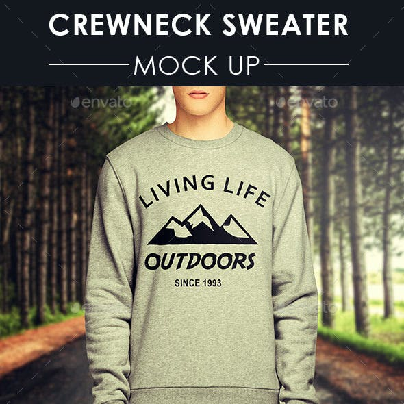 Mens Crewneck Sweater Mock Up