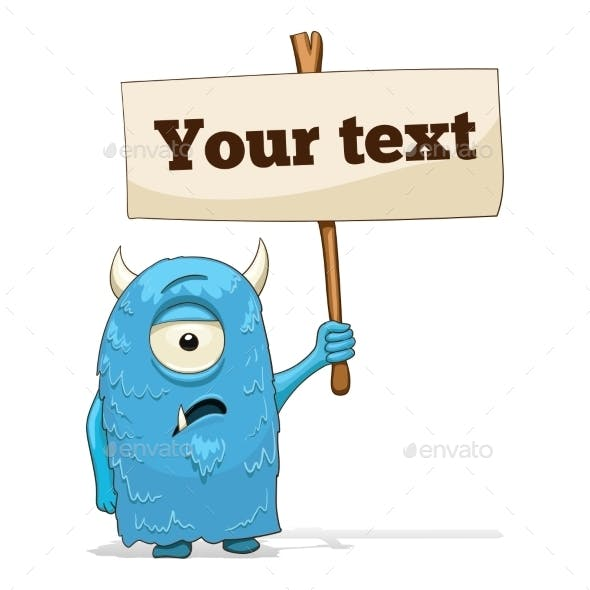 Cartoon Character Alien with Place for Text