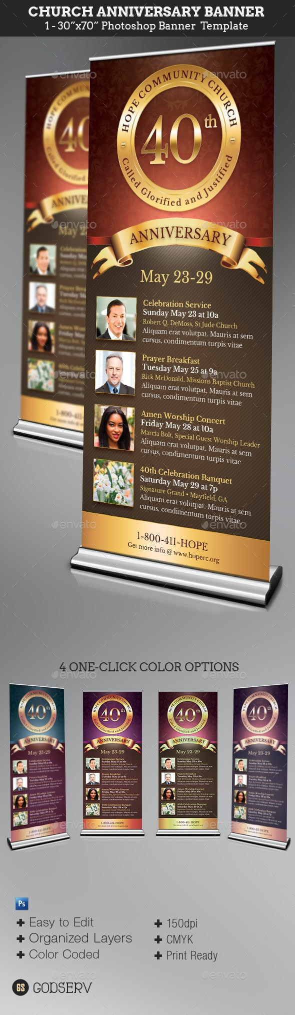 Church Anniversary Banner Template - Signage Print Templates