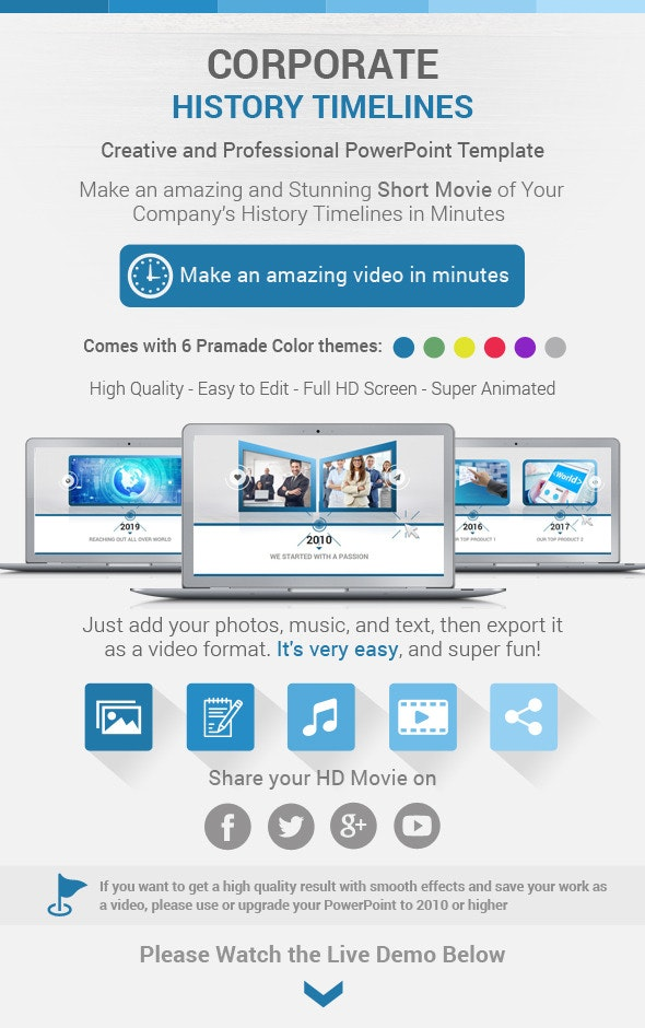 Corporate History Timelines PowerPoint Template - Business PowerPoint Templates