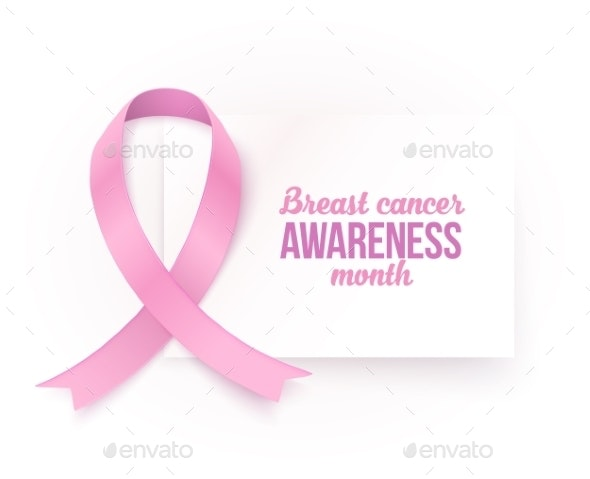 Breast Cancer Awareness Month White Card Template - Decorative Symbols Decorative