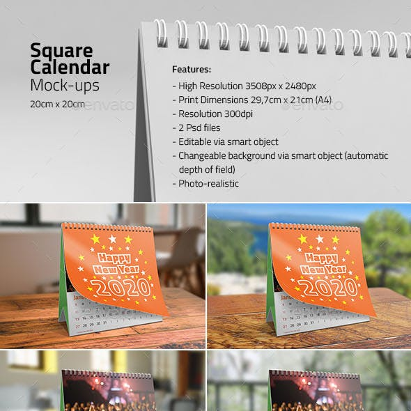 Square Desk Calendar Mock-ups