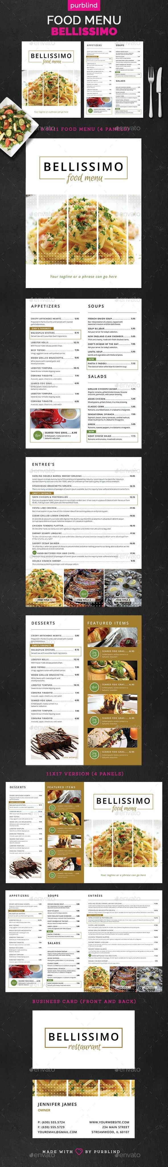Restaurant Menu Set - Bellissimo - Food Menus Print Templates