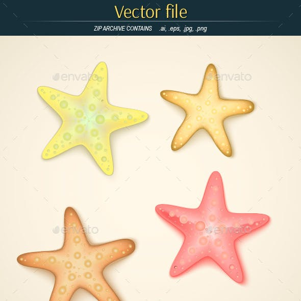 Starfishes Editable Vector
