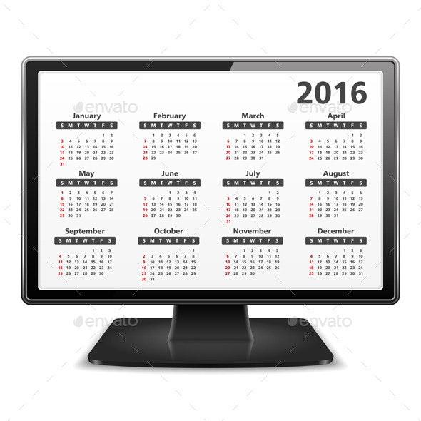 2016 Calendar - Miscellaneous Vectors