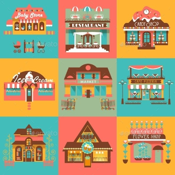 Set Of Markets And Local Shops Buildings