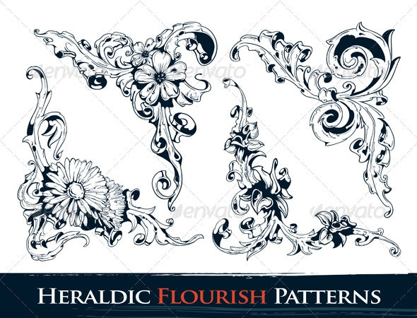 Set of Heraldic Flourish Patterns - Flourishes / Swirls Decorative