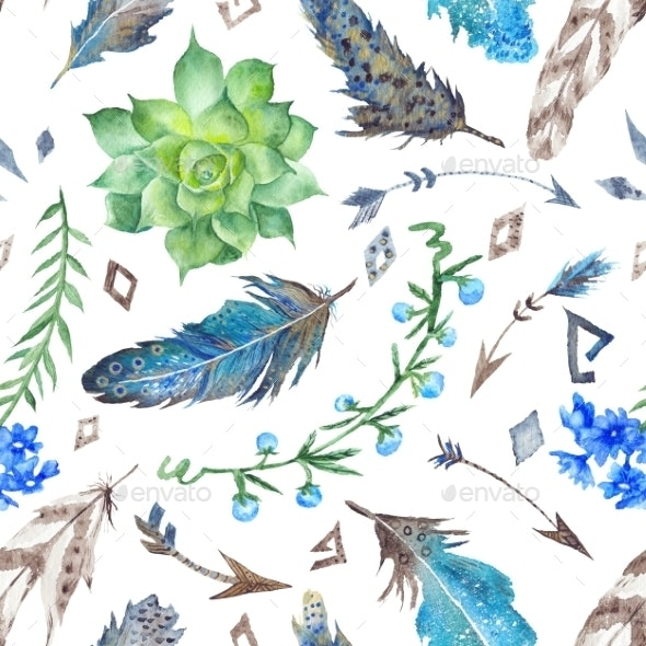 Tribal Pattern With Flowers And Feathers - Patterns Decorative