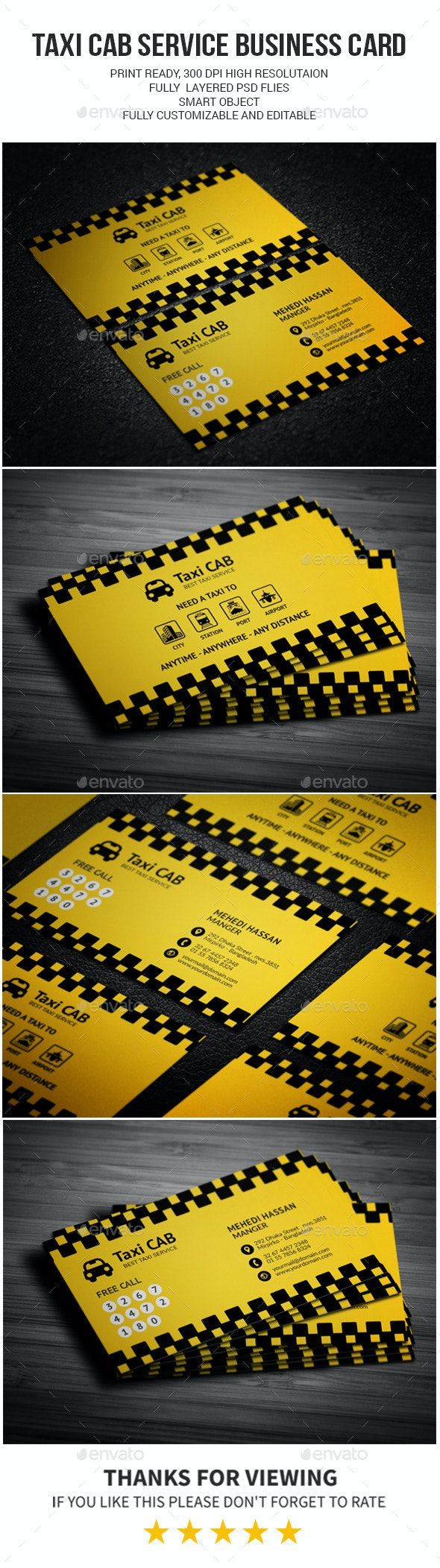 Taxi Cab Service Business Card - Industry Specific Business Cards