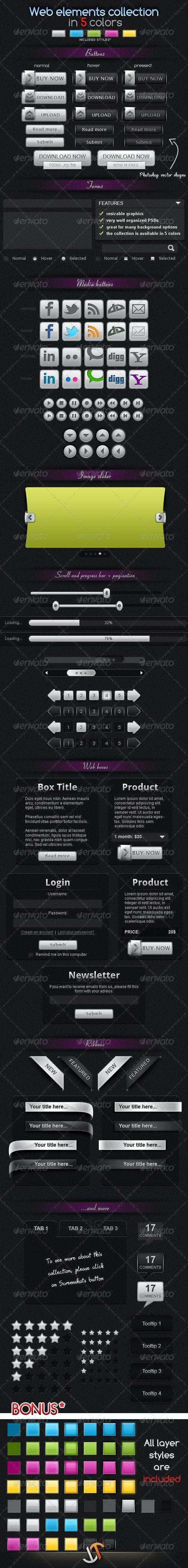 Web elements collection - in 5 colors - Miscellaneous Web Elements