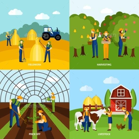 Farming 4 Flat Icons