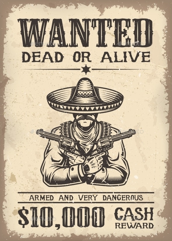 Vitage Wild West Wanted Poster - Backgrounds Decorative