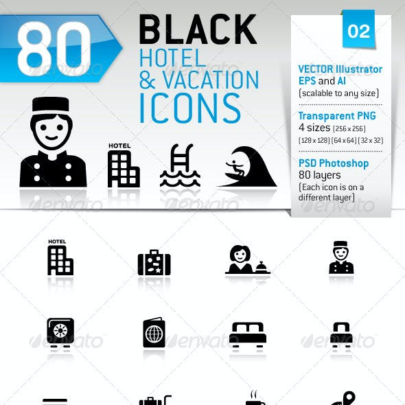 80 Black Hotel And Vacation Icons