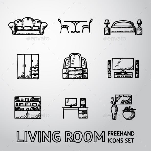 Set of Living Room Freehand Icons