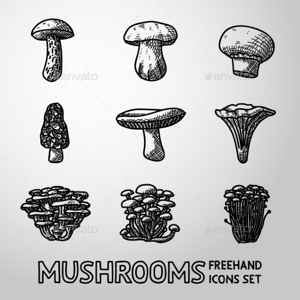 Set of Freehand Mushroom Icons