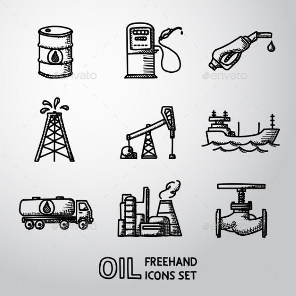 Set of Handdrawn Oil Icons