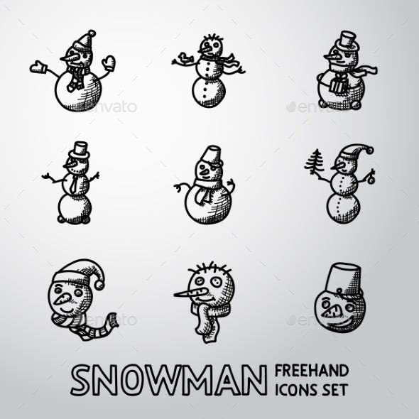 Set of Freehand Snowman Icons