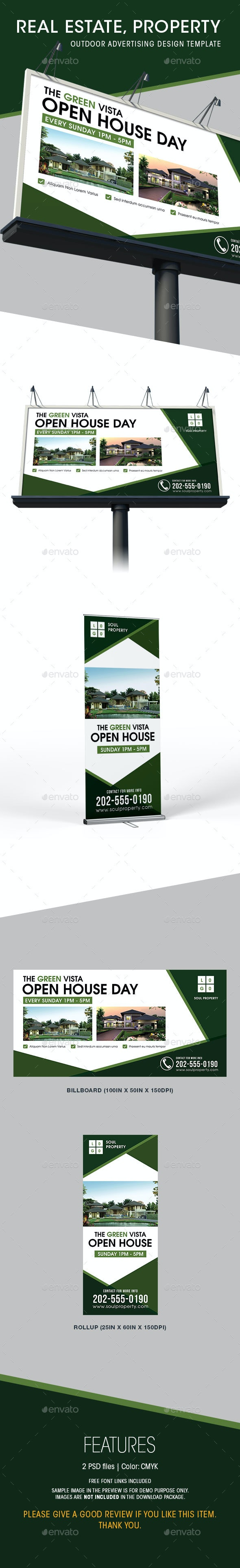 Real Estate - Billboard & Rollup Templates - Signage Print Templates