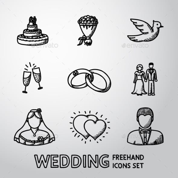 Set of Handdrawn Wedding Icons