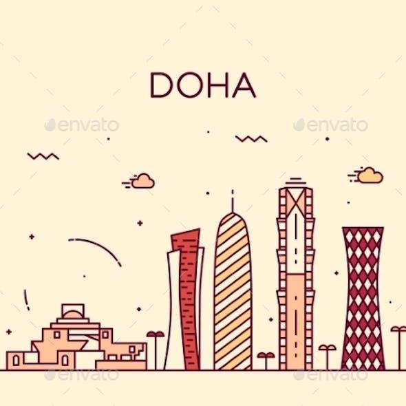 Doha Skyline Silhouette Illustration Linear Style